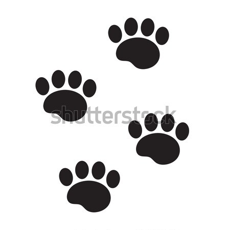 Foot marks of an animal icon, flat, cartoon style. Traces of dog paw isolated on white background. V Stock photo © lucia_fox