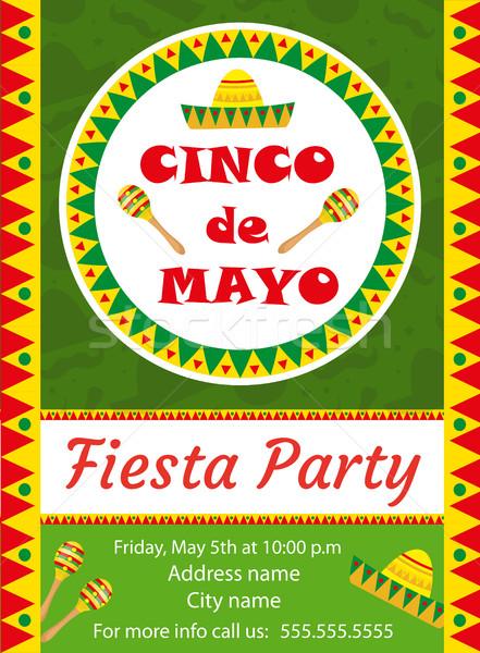 Cinco de Mayo invitation template, flyer. Mexican holiday postcard. Vector illustration. Stock photo © lucia_fox