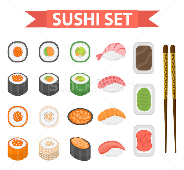 Sushi conjunto ícones elemento projeto estilo Foto stock © lucia_fox