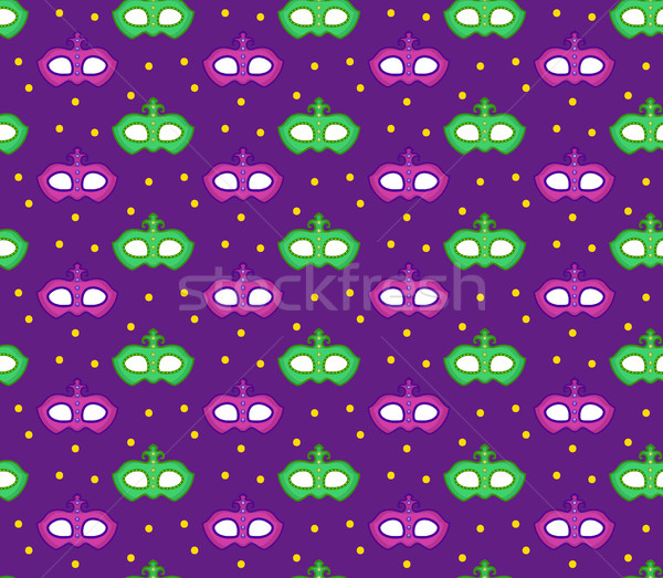 Mardi Gras seamless pattern with carnival mask. Masquerade background, texture, paper. Vector illust Stock photo © lucia_fox