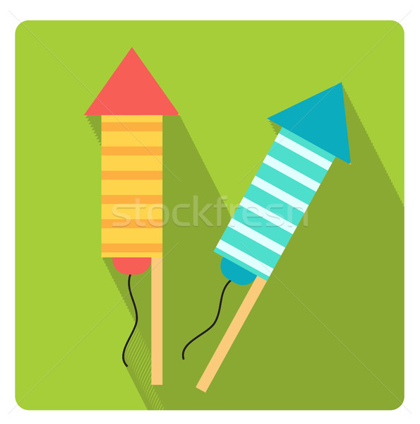 Rockets for fireworks icon flat style with long shadows, isolated on white background. Vector illust Stock photo © lucia_fox