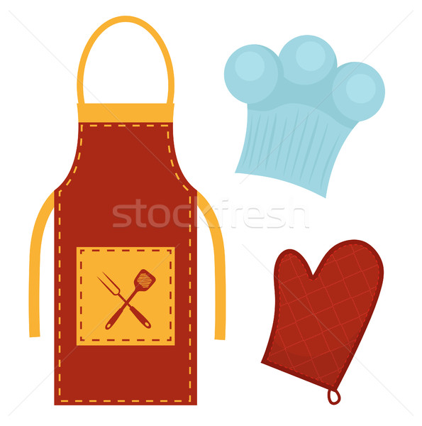 Kitchen set with apron, cook cap, potholder. Clothes for cooking, restaurant concept. Chef's uniform Stock photo © lucia_fox