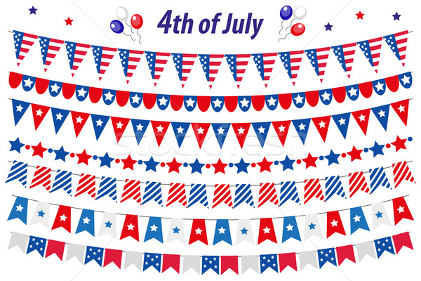 American Independence Day, celebration in USA, set bunting, flags, garland. Collection of decorative Stock photo © lucia_fox