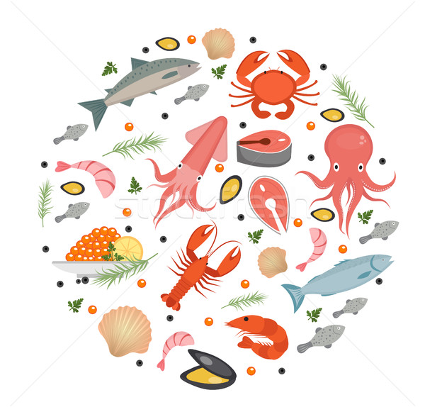 Seafood icons set in round shape, flat style. Sea food collection isolated on white background. Fish Stock photo © lucia_fox
