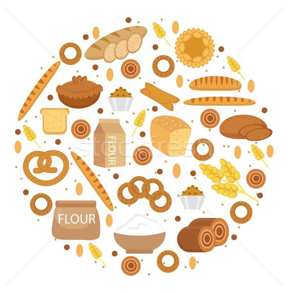 Pékség termékek ikon gyűjtemény forma stílus különböző Stock fotó © lucia_fox