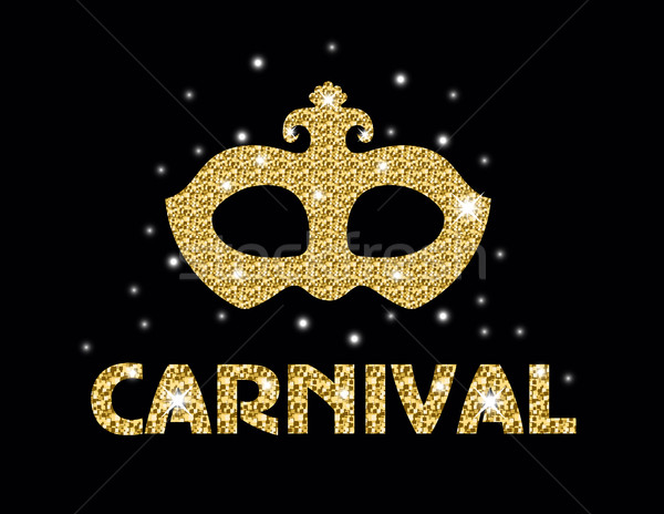 Carnival golden glitter mask, poster, flyer, invitation. Party, masquerade. Vector illustration. Stock photo © lucia_fox
