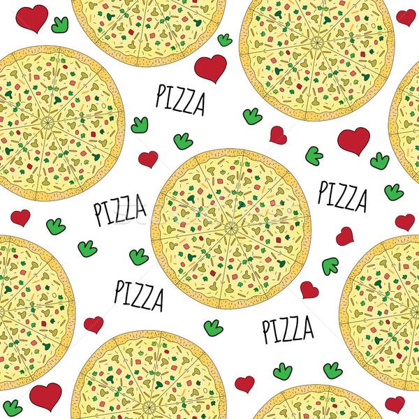 Pizza végtelenített textúra szeretet terv háttér Stock fotó © lucia_fox