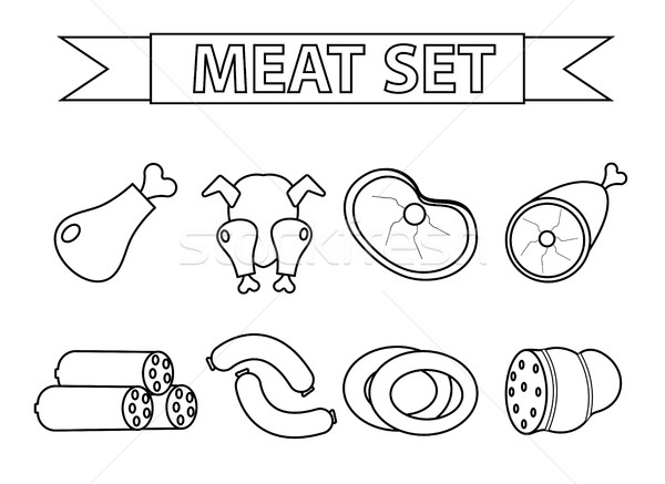 Meat and sausages icon set, modern line style. isolated on a white background. products, food. Vecto Stock photo © lucia_fox