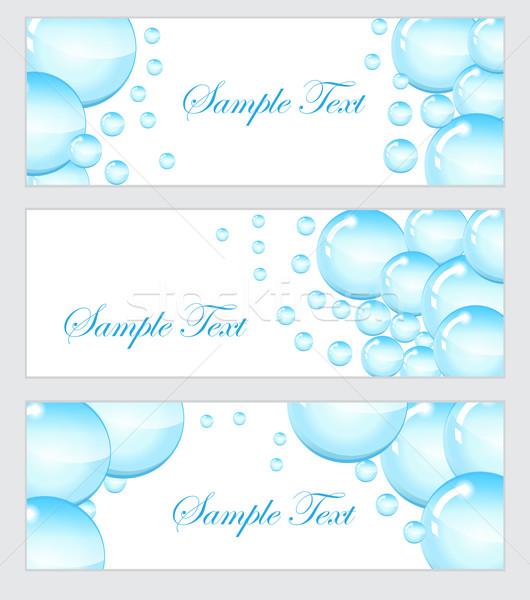 набор мыльные пузыри капли воды баннер шаблон пузырьки Сток-фото © lucia_fox
