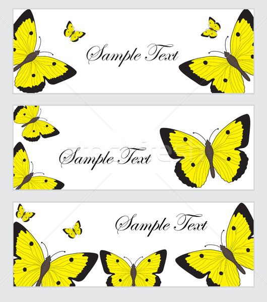 Ingesteld vlinders banner sjabloon gekleurd vlinder Stockfoto © lucia_fox
