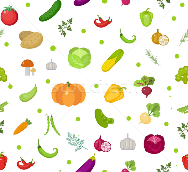 Vegetables seamless pattern. Salad endless background. Healthy lifestyle, vegan, vegetarian diet, ra Stock photo © lucia_fox