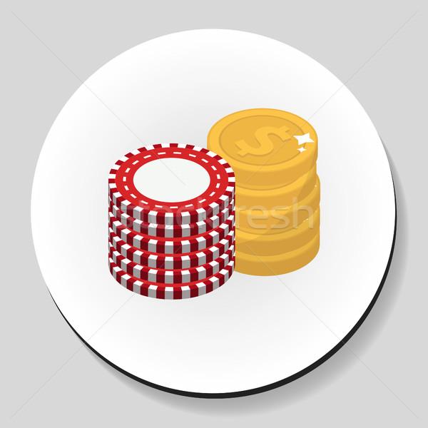 Dinheiro batatas fritas adesivo ícone estilo Foto stock © lucia_fox