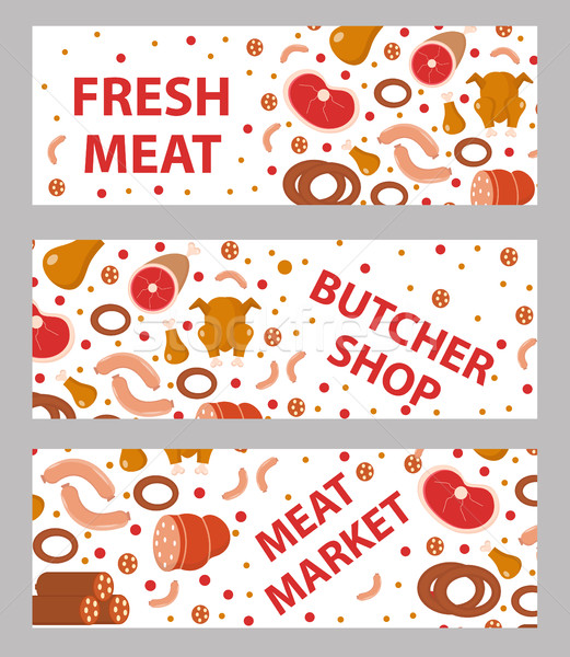 Meat and sausages banner set, flat style. Stock photo © lucia_fox