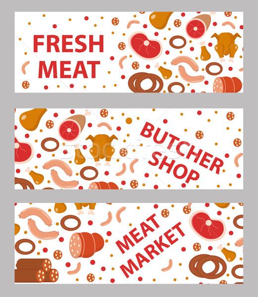 Vlees worstjes banner ingesteld stijl vers Stockfoto © lucia_fox