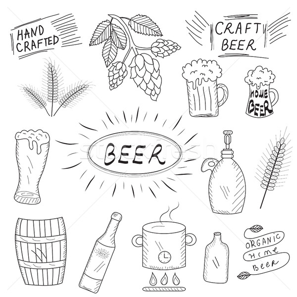 The set of hand drawn sketch of beer and home brewery. Home brewing, crafted beer. Vector illustrati Stock photo © lucia_fox