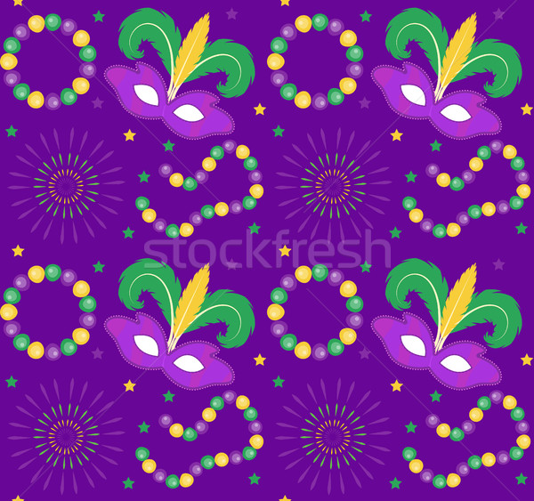 Mardi Gras Carnival seamless pattern with mask feathers, beads.   endless background, texture, wallp Stock photo © lucia_fox