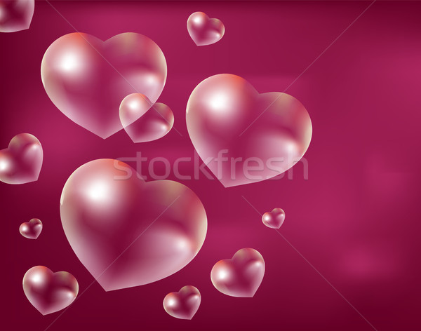Realistic soap bubbles Heart-shaped. Drops of water in a shape. Valentines day, love, romance concep Stock photo © lucia_fox