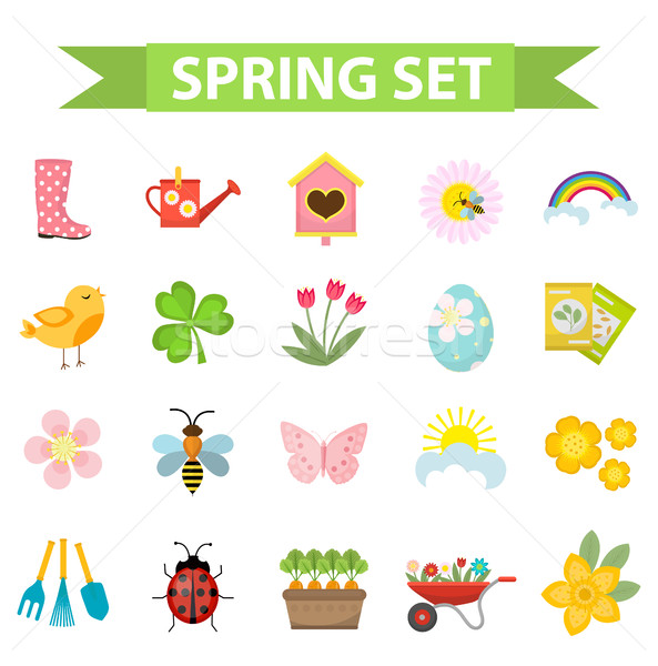 Spring icons set, flat style. Gardening cute collection of design elements, isolated on white backgr Stock photo © lucia_fox