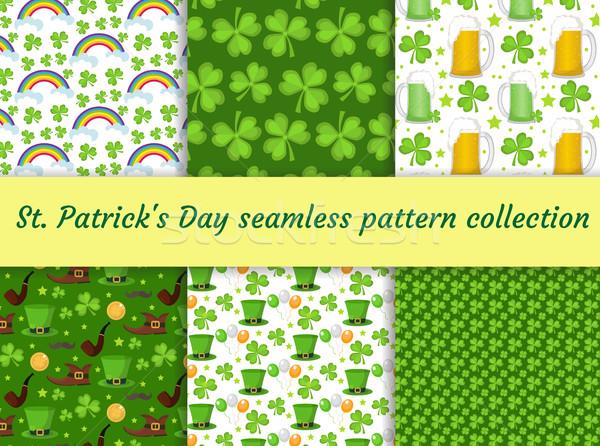 St. Patricks Day seamless pattern collection with beer and clover. Endless backdrop texture. Vector  Stock photo © lucia_fox
