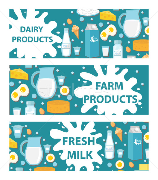 Dairy banner. Flat style. Milk products , board. Farm , Fresh . Vector illustration Stock photo © lucia_fox