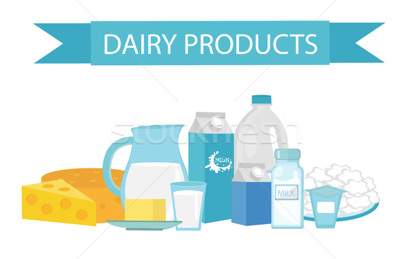 Milk products still-life. Flat style. Dairy  isolated on white background.  and cheese. Farm . Vecto Stock photo © lucia_fox