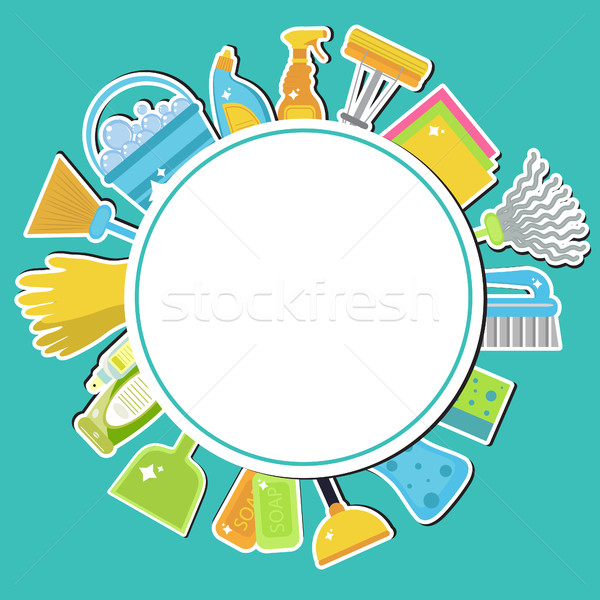 Set of icons for cleaning tools. House cleaning. Cleaning supplies. Flat design style. Cleaning desi Stock photo © lucia_fox