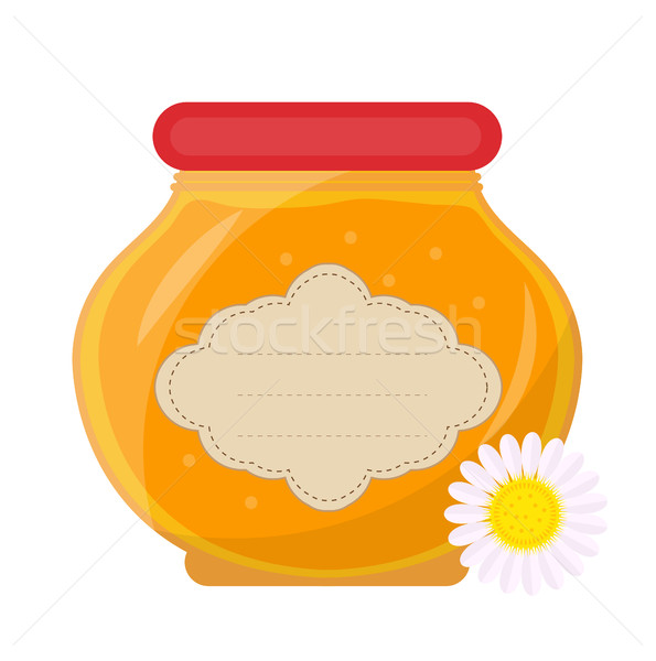 Jar of honey icon, flat style. Isolated on white background. Vector illustration, clip-art. Stock photo © lucia_fox