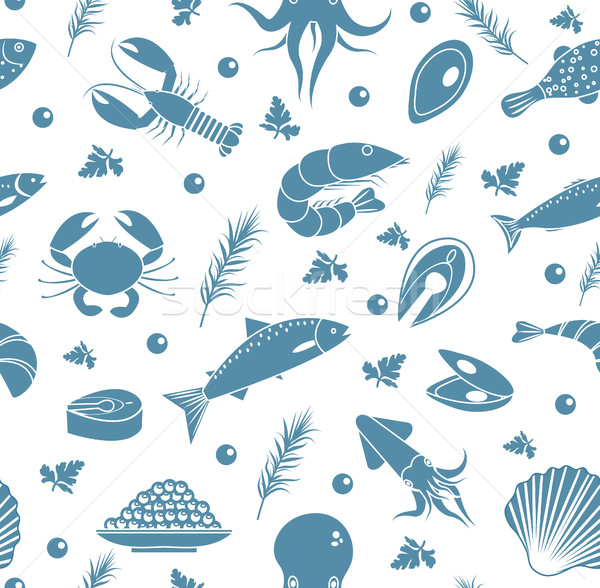 Seafood seamless pattern. Fish food endless background, texture. Underwater, sea life backdrop. Vect Stock photo © lucia_fox