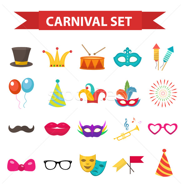 Party icons, design element, flat style. Carnival accessories, props, isolated on white background.  Stock photo © lucia_fox