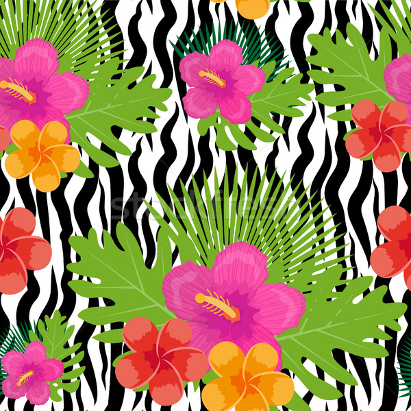 ストックフォト: 熱帯 · 花 · 植物 · 葉 · 動物 · 皮膚