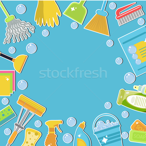 Set of icons for cleaning tools. Cleaning template for text, background. Flat design style. Cleaning Stock photo © lucia_fox