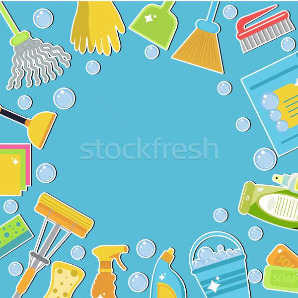 Ingesteld iconen schoonmaken tools sjabloon tekst Stockfoto © lucia_fox