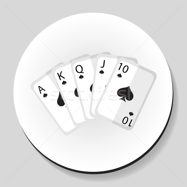 Playing cards pocker royal flash combination sticker icon flat style. Vector illustration. Stock photo © lucia_fox