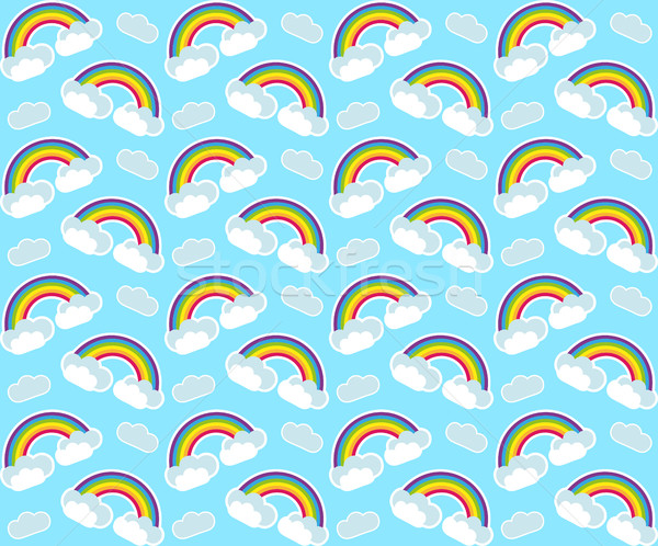 Rainbow seamless pattern. Colorful children's endless background, repeating texture. Vector illustra Stock photo © lucia_fox