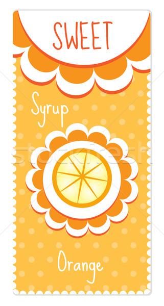 Sweet fruit labels for drinks, syrup, jam. Orange label. Vector illustration Stock photo © lucia_fox