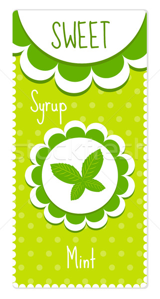 Cute dranken siroop mint label Stockfoto © lucia_fox