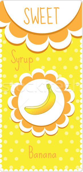 Sweet fruit labels for drinks, syrup, jam. Banana label. Vector illustration Stock photo © lucia_fox