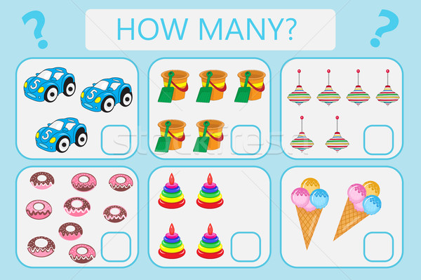 Childrens educational logic game. Mathematical task. How many. Vector illustration. Stock photo © lucia_fox