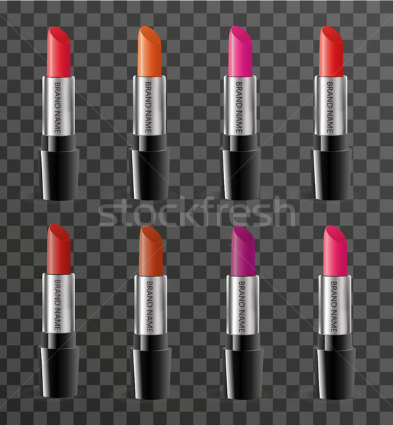 Realistic lipstick package template for your design. Rouge tube mock-up product on a transparent bac Stock photo © lucia_fox
