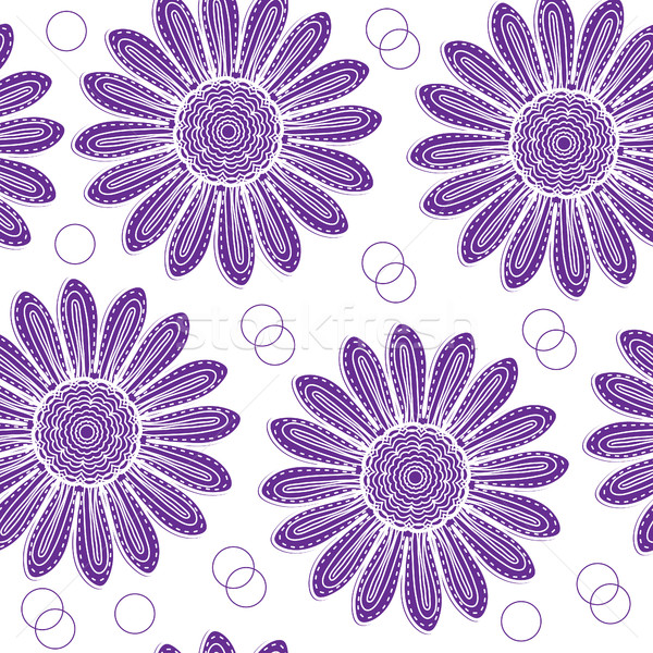 Virágmintás végtelen minta lila krizantém kéz rajz Stock fotó © lucia_fox