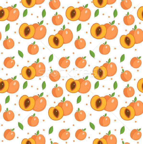 Barack végtelen minta sárgabarack végtelen textúra gyümölcsök Stock fotó © lucia_fox