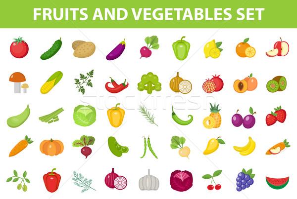 Friss gyümölcs zöldség ikon gyűjtemény bogyók gyógynövények izolált Stock fotó © lucia_fox