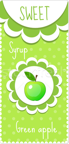 Sweet fruit labels for drinks, syrup, jam. Green apple label. Vector illustration Stock photo © lucia_fox