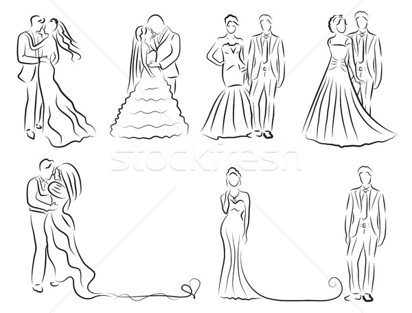 silhouette of bride and groom set, newlyweds sketch, hand drawing, wedding invitation, vector illust Stock photo © lucia_fox