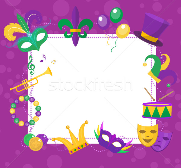 Mardi Gras frame template with space for text. Carnival poster, flyer, invitation. Party, parade bac Stock photo © lucia_fox