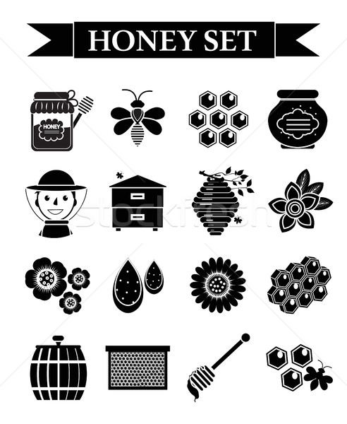 Honey icons set, black silhouette style. Beekeeping collection of objects isolated on white backgrou Stock photo © lucia_fox