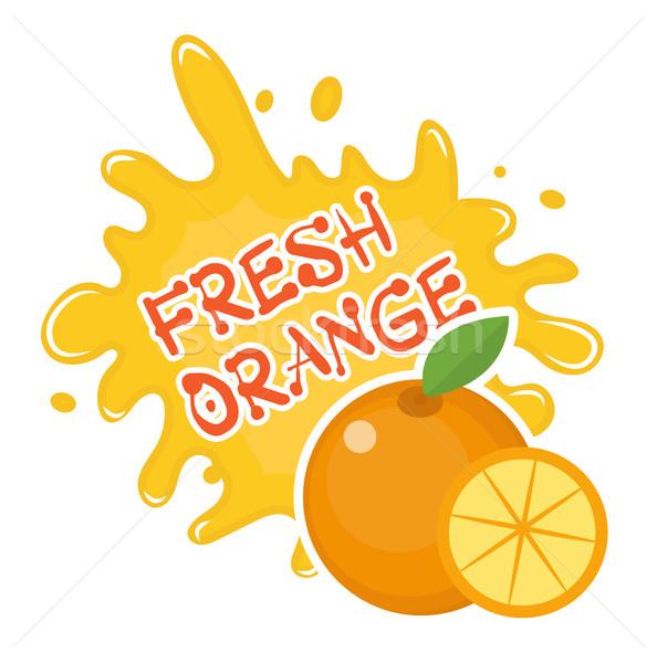 свежие оранжевый всплеск икона логотип наклейку Сток-фото © lucia_fox