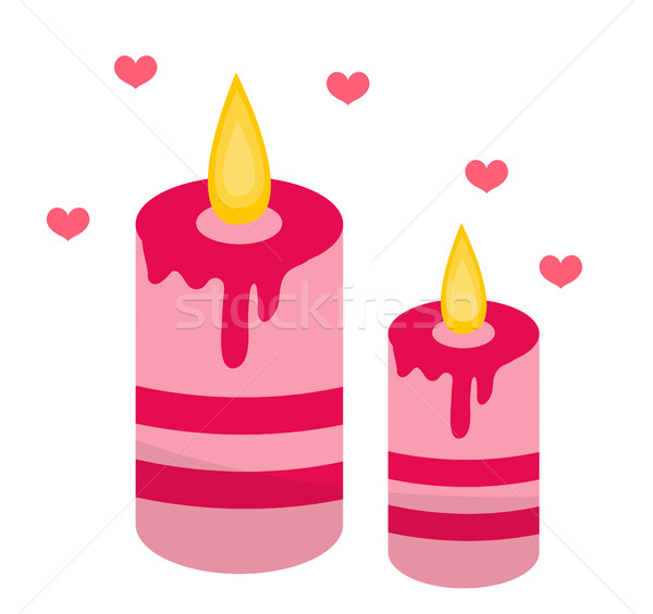 Romantic candles with hearts icon, flat design. Isolated on white background. Vector illustration, c Stock photo © lucia_fox