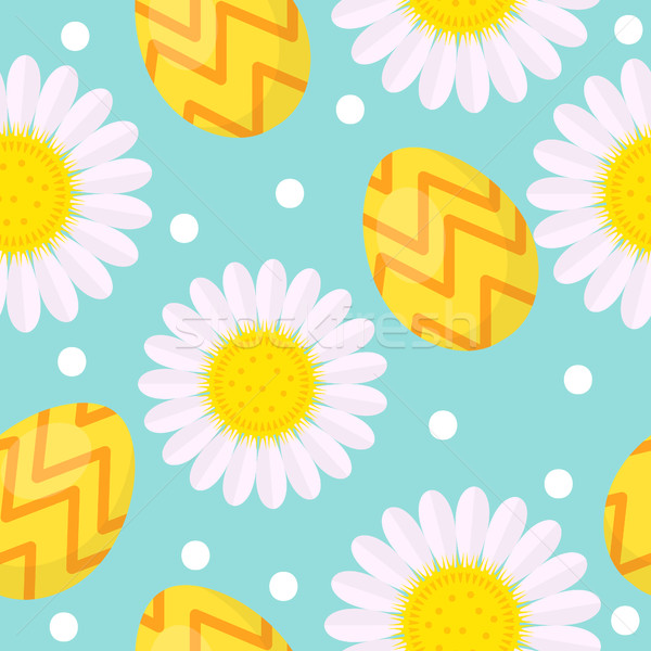 Cute Easter seamless pattern with eggs and camomile, endless backdrop. Holiday background, texture,  Stock photo © lucia_fox