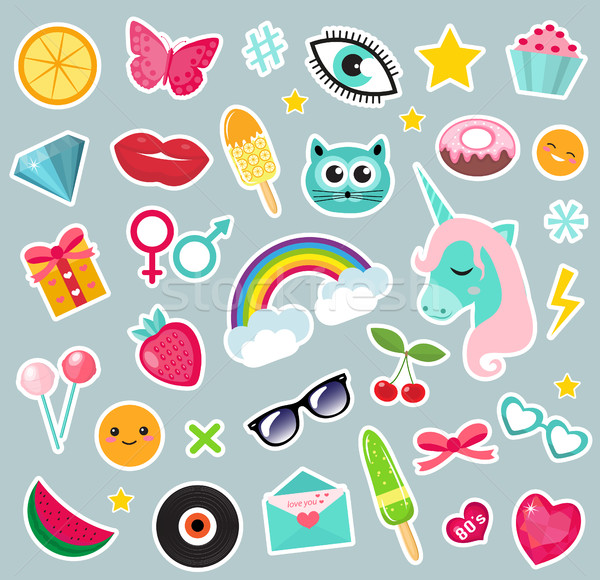 Stock photo: Fashion set of patches 80s comic style. Pins, badges and stickers Collection cartoon pop art with a